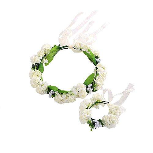 Blume Krone Stirnband FOONEE verstellbar handgefertigt Blumengirlande Kopfschmuck mit Blume Handgelenk Armband Set Hochzeit Haar Kranz Halo für Urlaub am Meer Foto Party Haar Ornament Gr. Einstellbar, weiß