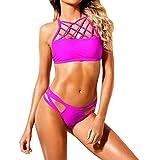HongHu Fuchsia Lattice Stehkragen 2 Stück Bikini-Bikini-Badeanzug Lila S