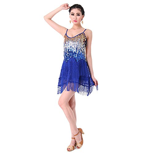 ghetti Buegel Gradient Sequin Tiered Fringe Dance Party Kleid Marineblau (Glamour Flapper Kostüme)