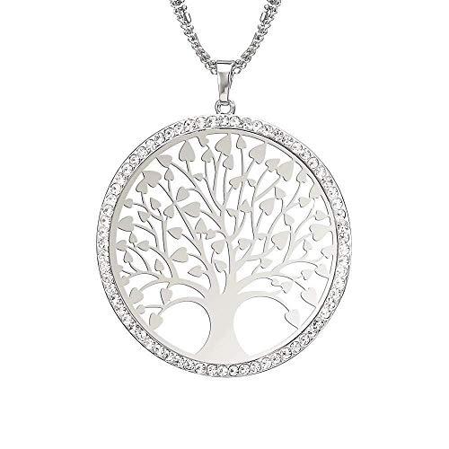 MKeDa Ich wünsche Baum Pullover Halskette Fashion Openwork Tree Ornament, Silber