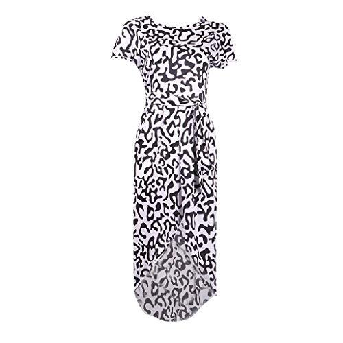 Haludock Damen Sommer Casual Leopard Geometric Print Lose Fliege Spleiß Tasche Flügelhülse Oansatz Seite Split Hohe Taille Retro Strand Maxi MiniKleid