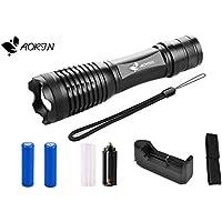 Aorin CREE XM-L2 1000 lumen LED luminoso eccellente tenuto in mano torcia ricaricabile, portatile, scalabile, luce cinque modalità (2 x18650 batterie, carica batterie al litio, borsa di