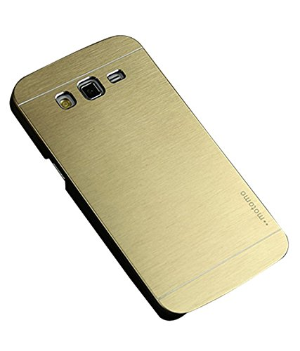 FUSON BRUSHED METAL MOTOMO BACK CASE COVER FOR SAMSUNG GALAXY GRAND 2 G7106 - GOLD