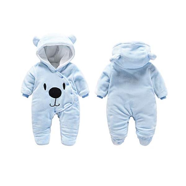 Runuo Mameluco del bebé recién Nacido,Mono de Invierno de bebé con Pijama con Capucha Trajes Infantiles 2
