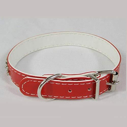 Dixinla Hundehalsband PVC Leder Doppel Drain Bohrer Welpen Halsring, Hals Lang 28-36cm (Drain-tasche)