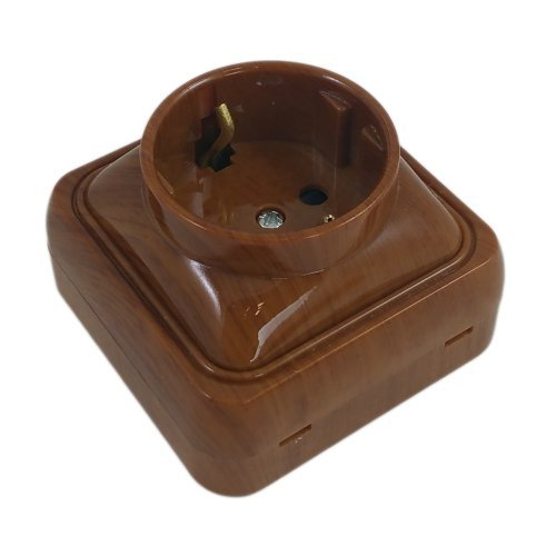 Mini Steckdose Aufputz 1-Fach SPIN, Aufputz-Montage, Schuko, Mahagoni, Designprogramm