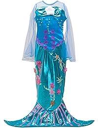 Wetry Vestito Sirena Bambina Principessa Ragazza Gonna Paillettes Abito di  Cosplay Halloween Carnevale Party Costume 71b648909de