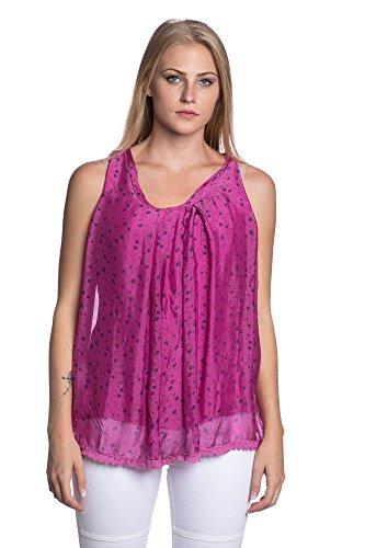 Abbino 8704-2 Top con Motivo Floreale Donne - Made in Italy - 5 Colori - Mezza Stagione Transizione Primavera Estate Autunno Donne Shirt Moderno Libero Casuale Sexy Elegante Dolce Flessibile Rosa scuro