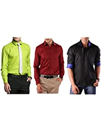 Special Offer # Premium Combo Of Three Party Wear Shirts For Men By Mark Pollo London(ParrotGreen,Mehrun,Black)