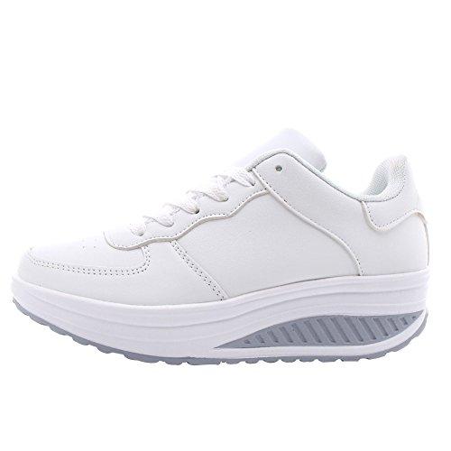 41 Corsa Allenamento Sportiva Taglia Sneakers Scarpa Fitness Hanno 40 Pelle Bianco Di In Pizzo Esecuzione Di In Palestra Wealsex Donna x1ZHRw