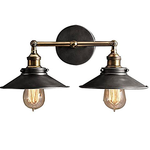 Industrial Edison Simplicity 2 Light Wall Mount Light Sconces Aged Iron Finished , Double Head Wall lamp