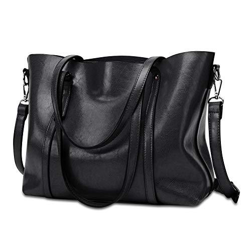 Ehpow Damen Vintage Tote Beutel Schultertasche Handtasche Mode Handtasche Messenger Bag (Schwarz)