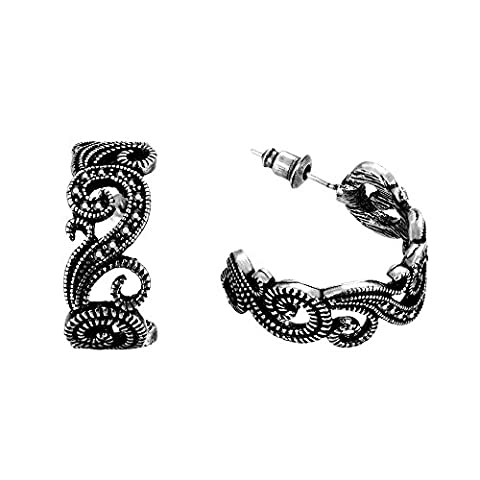 Scorpios Antique Silver Black CZ Paved Studs Vintage Flower Half
