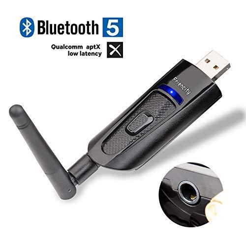 Friencity USB Bluetooth 5.0 Transmitter Adapter für TV, Wireless Dongle für PC Laptop Home Stereo Pair zu AirPods TWS Bluetooth Kopfhörer Lautsprecher mit 3,5 mm Aux, Dual Link aptX LL, Plug&Play (Home-antenne Für Tv)