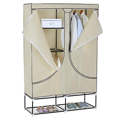 WOLTU SR0013 Regalsystem Kleiderschrank Garderobenschrank, DIY Steckregal, mit Türen Lagerregal Bücherregal XXL, 111x37x147cm, Weiss