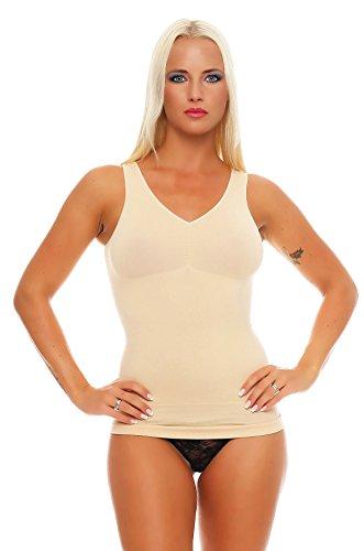 2 Stück Damen Form-Unterhemden Shapewear sanft formend verschiedene Farben kaschiert Taille und Bauch ohne Nähte Seamless Gr. 40/42 bis 52/54, 2x Beige, 48-50