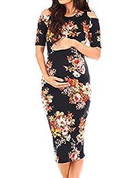 ecb6fd2b3 Vestido De Mujer para Elegante Moda Mujeres Embarazadas Modernas Casual  Estampado Floral Vintage Vestido De Maternidad Manga Corta…