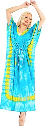 LA LEELA Frauen Damen Baumwolle Kaftan Tunika Tie Dye Kimono freie Größe Lange Maxi Party Kleid für Loungewear Urlaub Nachtwäsche Strand jeden Tag Kleider Teal blau_X722 - Tie-dye-tunika