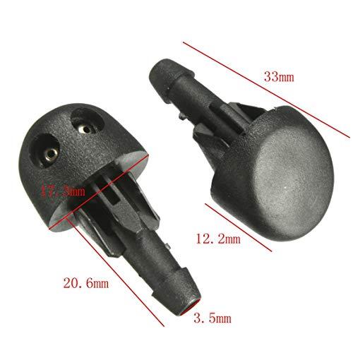 1 paio di ugelli per spruzzatore per ugelli per lavacristallo anteriore per auto Kit di ricambio per strumento di pulizia professionale adatto per RENAULT Nero