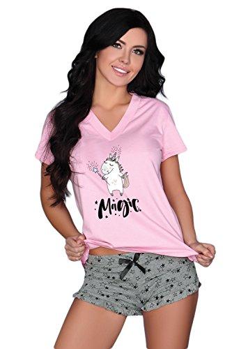 Selente süßes und bequemes 3-teiliges Damen Shorty-Set aus Shirt & Shorts, mit exklusiver...