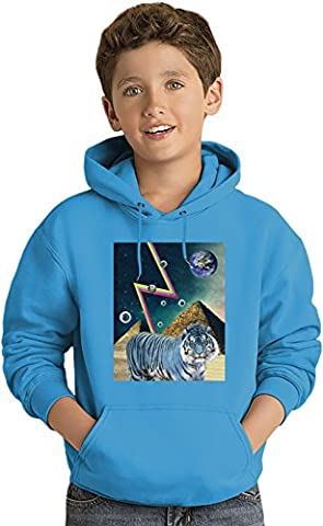 White Tiger Egypt Pyramids Lightweight Hoodie For Kids | 80%