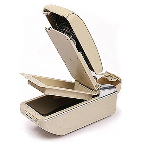 Preisvergleich Produktbild Tuqiang Auto Armlehne Mittelarmlehne Doppelter Speicherplatz mit 7 USB-Ladegerät Veranstalter Innere Auto Styling Beige