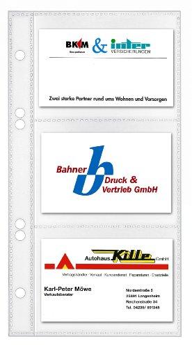 Veloflex 5352000 Visitenkartenhüllen, 110x210mm, für 6 Karten pro Hülle, transparent, 10 Stück