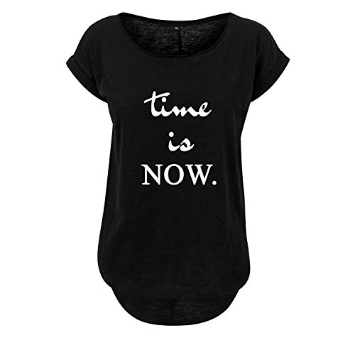 time is now t-Shirt lang Oversize Damen kurzarm Top Women lässig Sommer schwarz weiß (349-B36-Schwarz-S) (Langarm T-shir Lustig)