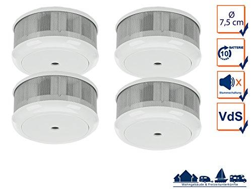 4er-SET Mini 10-Jahres Rauchwarnmelder mit VDS & DIN EN14604/ Maße nur 75 x 35 mm