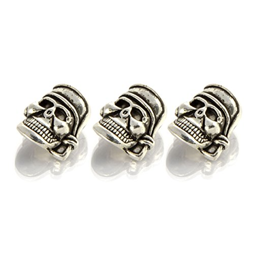 Elemento decorativo in metallo a forma di teschio, con occhiello, ideale per Paracord 550, colore: argento anticato, marca Ganzoo