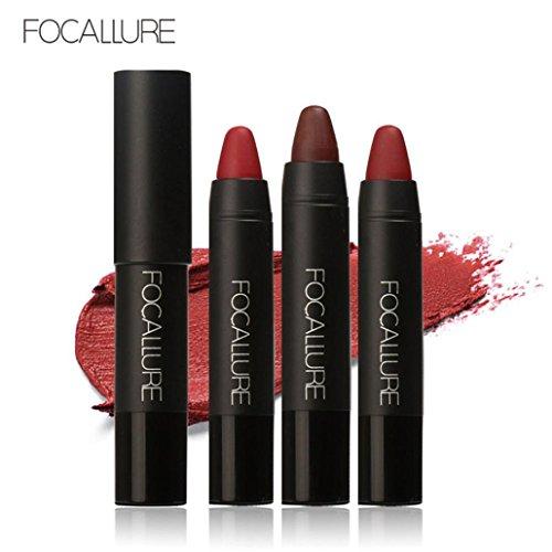 Ensemble de crayons de rouge à lèvres Crayon, FOCALLURE rouge longue durée de couleur rouge à lèvres Crayon crayons de maquillage par BZLine (KIT 1)