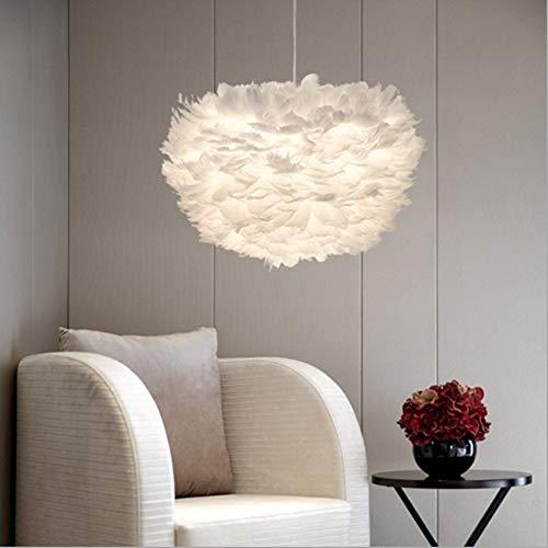 Pendellicht, White Feather Ceiling Shade Lampenleuchter für Wohnzimmer Esszimmer Esszimmer Schlafzimmer, Durchmesser 40 cm Licht (ohne Lichtquelle)