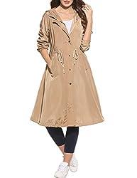Zeagoo Damen lange Jacke Trenchcoat oversize Casual Frühling Herbst Parka Mantel mit Kapuze (Khaki, L)