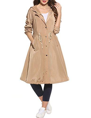 Zeagoo Damen lange Jacke Trenchcoat oversize Casual Frühling Herbst Parka Mantel mit Kapuze (Khaki, S)
