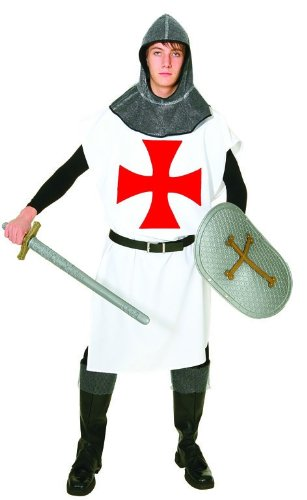 Rot Kostüm Kreuz - Templer-Kostüm: Waffenrock in Weiß mit rotem Kreuz, 1,20 m lang, Einheitsgröße