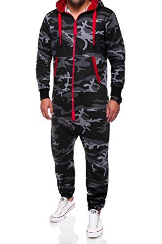 MT Styles Jumpsuit Jogger Jogging Anzug MJ-2154 [Schwarz Camouflage, XL]
