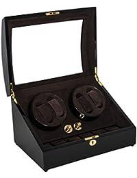 Lindberg & Sons Estuche con rotor para 4 relojes automáticos y 6 compartimentos adicionales Madera café Terciopelo color crema - UB8078MHCR