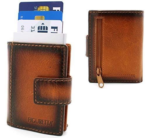 Figuretta Porta carte di credito in pelle con porta banconote e portamonete - Portafoglio sottile - PRossaezione RFID - Vintage Bruciato