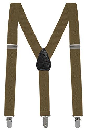 Buyless fashion pantaloni con bretelle di sostegno a y posteriore da bambino e bebè 2,5 cm regolabili ed elastici- con ganci forti e resistenti-5102 clr.: tan   dim.: 76 cm (8 anni - 150 cm)