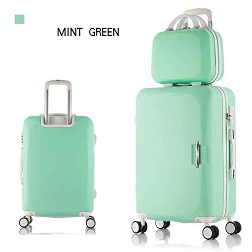 """HUANGA Bagagli, valigia trolley semplice ed elegante, set valigia regolabile da 26""""a grande capacità (Color : Green, Dimensione : 20 inches)"""