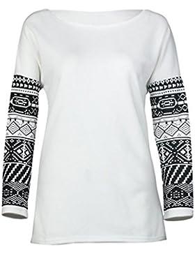 LHWY Larga Mujer Manga Camisa Blusa Casual Algodón Flojo Tops Señora T Shirt