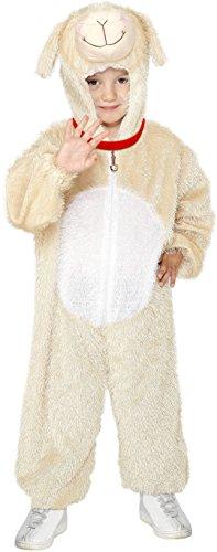 Smiffys Kinder Unisex Lamm Kostüm, Jumpsuit mit Kapuze, Größe: M, (Lamm Kostüm)