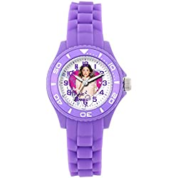 Disney - W001567 Violetta girl's watch with an analogue quartz white dial and purple silicone strap