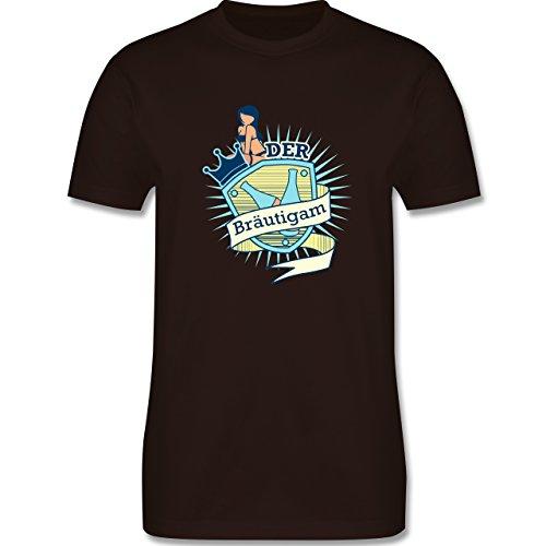 JGA Junggesellenabschied - Bräutigam Schild - Herren Premium T-Shirt Braun