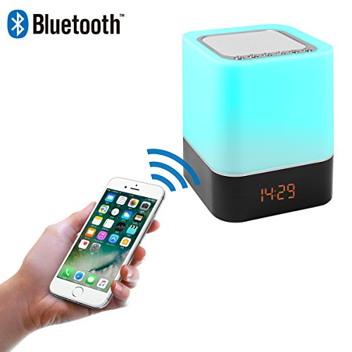 Touch Control Bedside Lamp with Wireless Bluetooth Speaker, Table Alarm Clock Bluetooth with Changing Led Night Light, Radio MP3 Playe and Mood Lighting