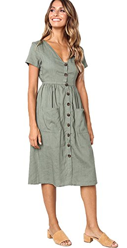 ALAIX Damen Elegantes Kleid Kurzärmeliges Freiteit Sommerkleider für Damen Grün-XL