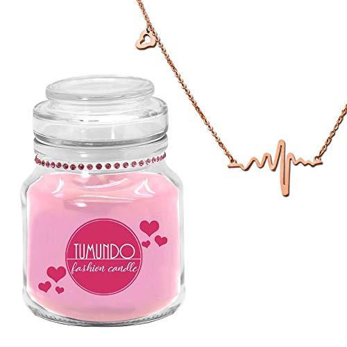tumundo Fashion Candle Schmuck-Kerze Valentinstag Liebe Muttertag Geburtstag Duftkerze Halskette Herz-Schlag Frequenz, Modell:rosé Gold