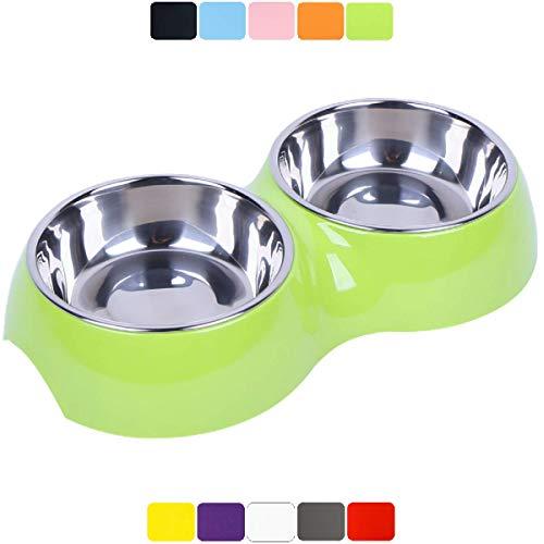 DDOXX Doppel-Fressnapf, rutschfest | viele Farben & Größen | für kleine & große Hunde | Futter-Napf Katze doppelt | Hunde-Napf Hund | Katzen-Napf Edelstahl-Napf | Melamin-Napf | Grün, 2 x 350 ml