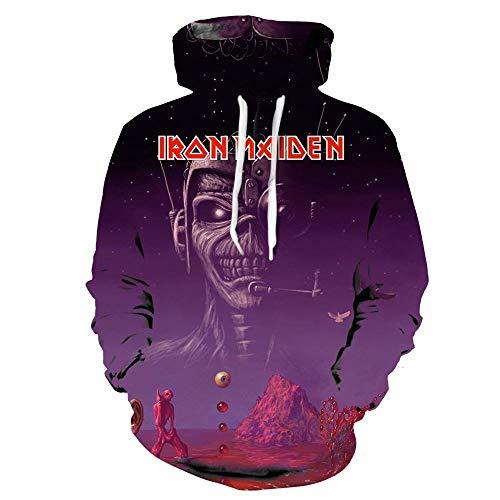 Unisex Iron Maiden Sudaderas Guapo de Primavera y otoño de los Hombres de Cuello Redondo de Manga Larga suéter Camisa de Fondo suéter Iron Maiden Sudaderas con Capucha (Color : A22, Size : XXL)