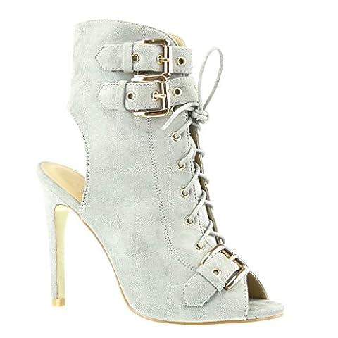 Angkorly - damen Schuhe Stiefeletten Sandalen - Stiletto - Offen - Schleife - metallisch Stiletto high heel 12 CM - Grau C-230 T